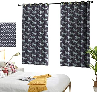 """RuppertTextile Customized Curtains Galloping Unicorn Silhouettes in Space Soft Starred Background Fantastic 72"""" Wx63 L, Noise Reducing"""