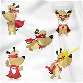 Ambesonne Dog Decorative Napkins Set of 4, Superhero Puppy with Paw Costume and Mystic Powers Laser Vision Supreme Talents, Silky Satin Fabric for Brunch Dinner Buffet Party, 12