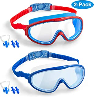 COOLOO Kids Swim Goggles, 2-Pack Wide Vision Swimming Goggles for Children Toddler and Early Teens from 4 to 15 Years Old, Swim Glasses No Leaking, Anti-Fog, Waterproof