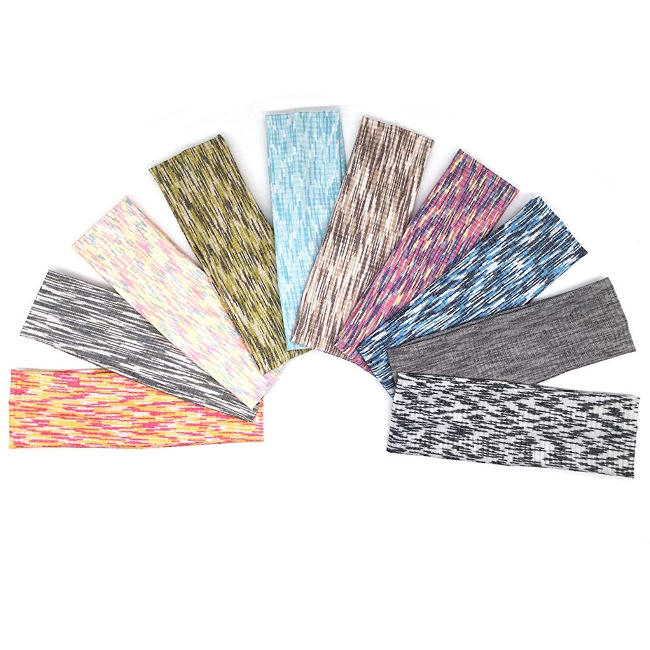 ransiy 10 Packs Non Slip Stretch Cotton Headbands Elastic Yoga Sports Hairband For Teens And Adults,Colorful Cotton