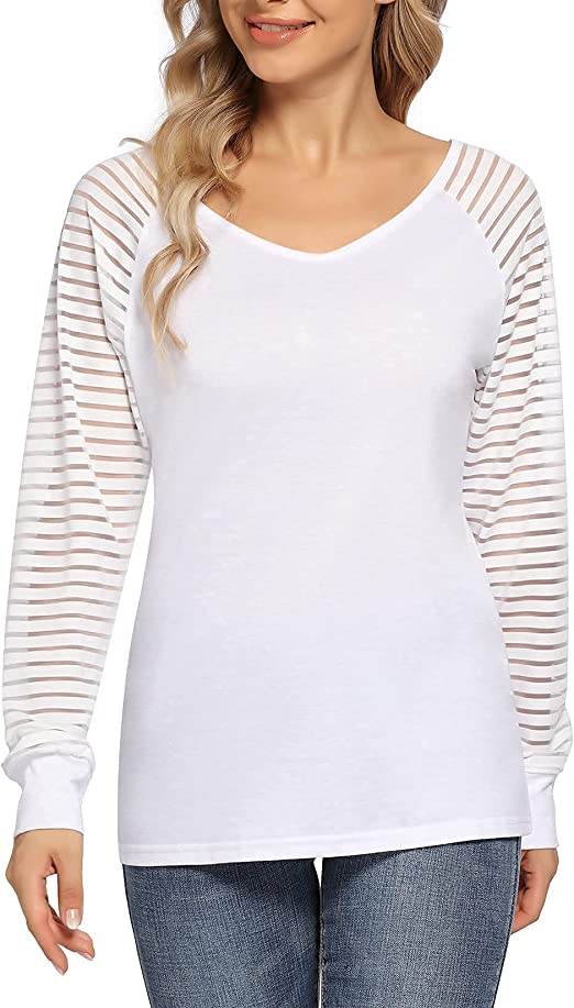 KOJOOIN Women Casual V Neck Tops Long Sleeve Patchwork Striped Sheer Blouse Shirts