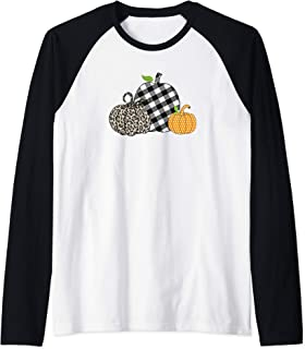 Leopard Pumpkin Halloween October Buffalo Plaid Cheetah Raglan Baseball Tee