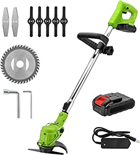 Cordless Wireless Grass Trimmer Brush Cutter, Wireless Grass Trimmer, Lawn Mower Garden Tools for Weed-Wacking,with 21V Li...