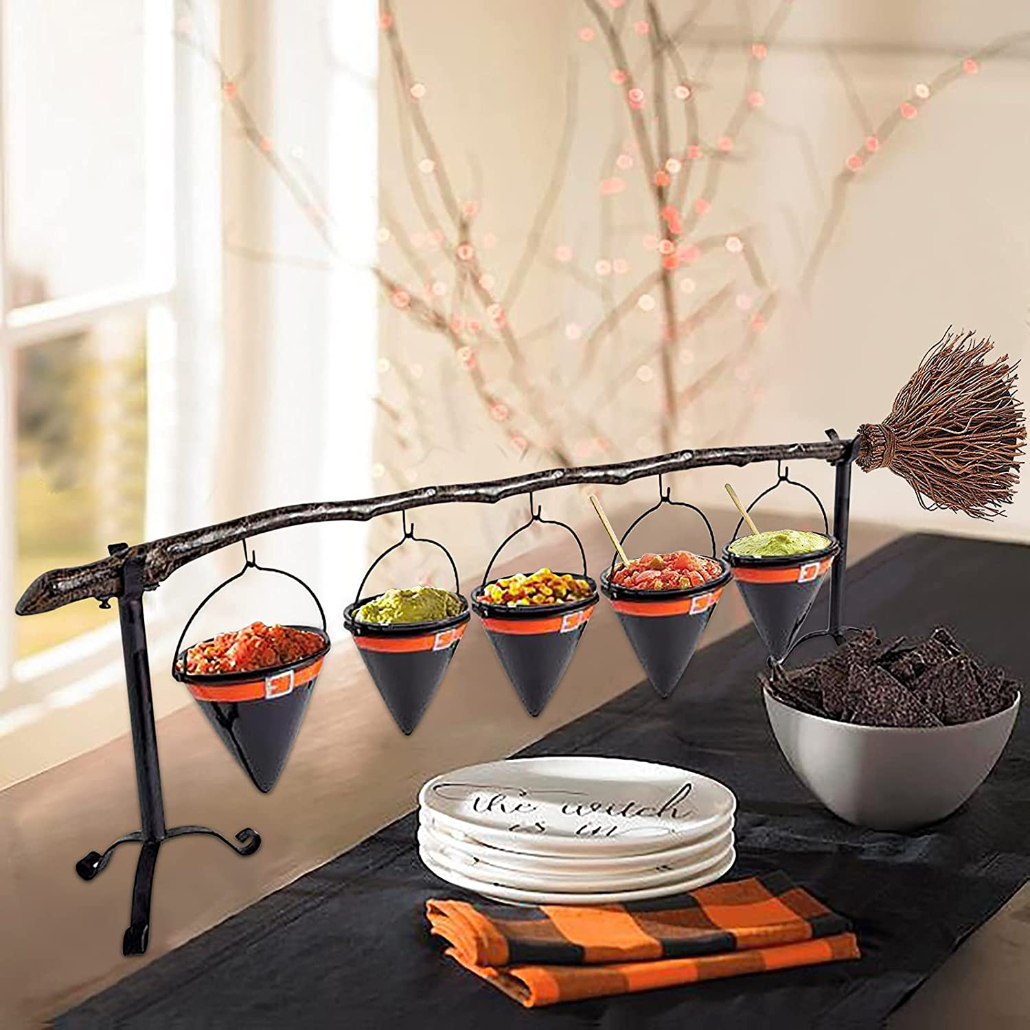 Halloween Max 87% OFF Witch Broom A surprise price is realized Stick Snack Basket Fr Removable With Bowl