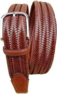 ESPERANTO Cintura elastica in pelle unisex finiture vero cuoio made in Italy, 3,5 cm accorciabile con fibbia nichel free a...