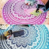 Set of 2 Round Mandala Blanket or Boho Mandala Tapestry or Bohemian Decoration or Hippie Beach Blanket, Circle Tablecloth or Picnic Blanket, Indian Meditation Rug Mat for Yoga - 72 Inches, Blue and Pink