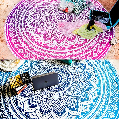 Set of 2 Round Mandala Blanket or Boho Beach Tapestry or Bohemian Decoration or Hippie Beach Blanket, Circle Tablecloth or Picnic Blanket, Indian Meditation Rug Mat for Yoga - 72 Inches, Blue and Pink