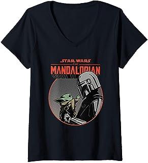 Mujer Star Wars The Mandalorian Mando and the Child Retro Camiseta Cuello V