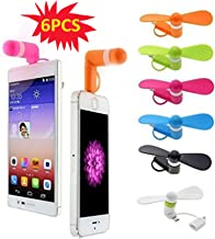 Mini Cell Phone Fan - Colorful and Powerful 2-in-1 Fan for iPhone/iPad/Android Smartphone/Tablet - Cell Phone Summer Accessories -(6 Colors 6PCS)