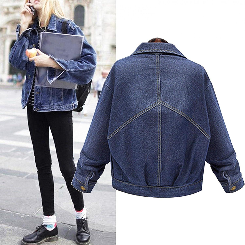 Women's Oversize Jean Jacket Vintage Washed Boyfriend Denim Jacket Long Sleeve Classic Loose Button Down Jean Coats