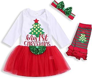 Christmas Outfits Newborn Infant Baby Girls My First Christmas Dresses Tutu Dress Skirt Set Fall Clothes