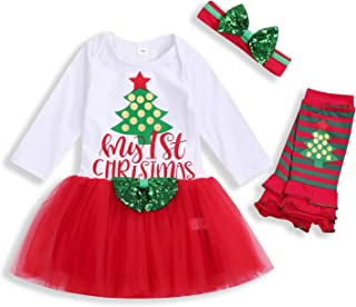 SEVEN YOUNG Christmas Outfits Newborn Infant Baby Girls My First Christmas Dresses Tutu Dress Skirt Set Fall Clothes