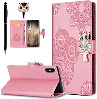 ikasus Case for iPhone Xs Max Cover,Bling Diamonds Glitter Embossing Mandala Owl PU Leather Fold Wallet Flip Stand Protective Case Cover + Dust Plug & Stylus for iPhone Xs Max Wallet Case,Pink