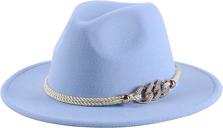 Lanzom Vintage Fedora Hats for Great interest Women Ha Felt low-pricing Brim Warm Wool Wide
