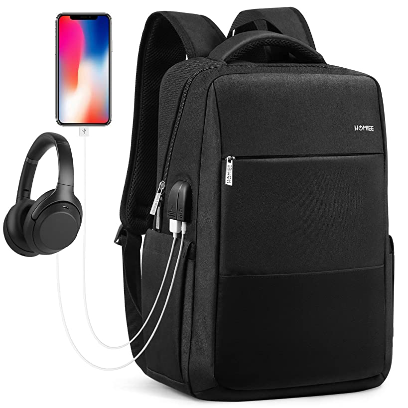 HOMIEE Travel Laptop Backpack, Extra Large Capacity School Backpack for Men and Women with USB Charging Port, Waterproof Business Computer Backpack Bag Fit 15 Inch Laptops Notebook, Balck, LB1503B