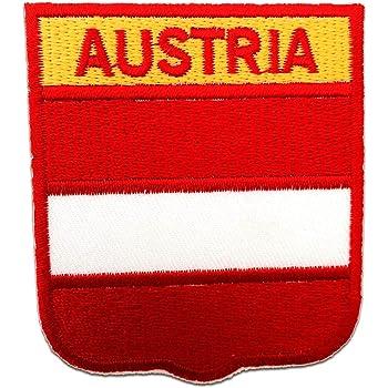 Parches - Austria bandera - rojo/blanco - 6x7cm - termoadhesivos bordados aplique para ropa: Amazon.es: Hogar
