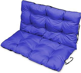 Keyohome 3pcs Set Cuscino Panca da Giardino per Balcone Sedile per Patio 1 Sedile 110x50 cm e 2 Schienali 48x48 cm Blu Navy