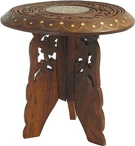 Soporte flores macetas pequeña mesa auxiliar madera talla incrustaciones de latón 22x23cm
