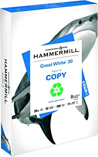 Hammermill Paper, Great White 30% Recycled Printer Paper, 11 x 17 Paper, Ledger Size, 20lb, 92 Bright, 1 Ream / 500 Sheets (086750R) Acid Free Paper