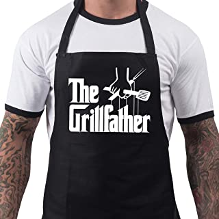 Men's Funny The Grillfather Summer BBQ Cooking Novelty Chef Apron Black One Size