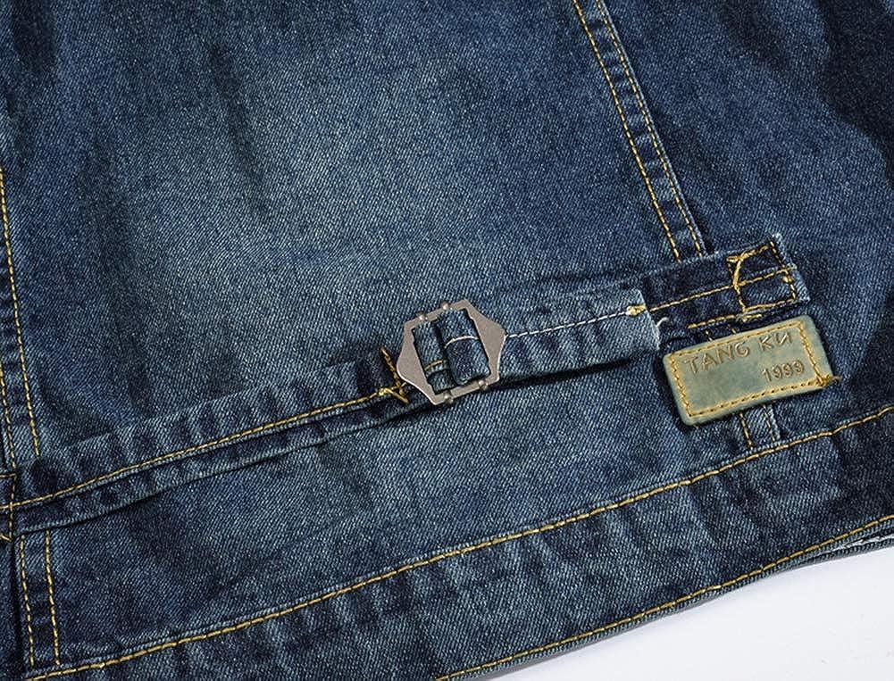 Lavnis Men's Hoodie Denim Vest Casual Slim Fit Button Down Sleeveless Jeans Vests Jacket