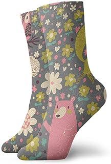 Divertidos calcetines casuales Divertidos dibujos animados ciervos oso zorro erizo y búho estampado deporte calcetines deportivos 30 cm de largo
