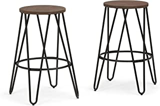 SIMPLIHOME Simeon 26 inch Counter Height Stool, Cocoa Brown and Black Metal and Elm Wood, Round, Set of 2, for the Kitchen...