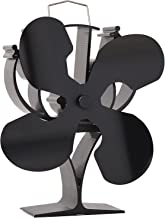 VODA New Designed 4 Blades Heat Powered Stove Fan for Wood/Log Burner/Fireplace - Eco Friendly(Black)
