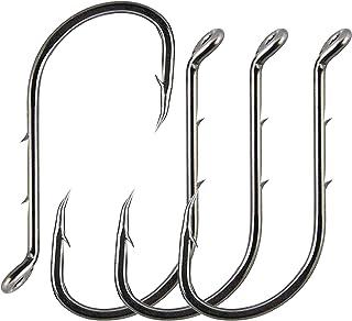 AGOOL 50-150 pcs Fishing Jig Hooks Extra Sharp Octopus Baitholder Hooks Black High Carbon Steel Circle Hooks for Freshwate...