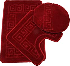 "Pauwer 3 Piece Bath Rug Set Pattern Bathroom Rug 28.4""x17.7""/Contour Mat 17.7""x17.7""/Lid Cover (Burgundy)"
