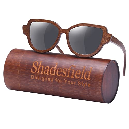 a95ac2d0647a Cat Eye Polarized Wood Sunglasses for Women and Men-100% UV Protection, Full