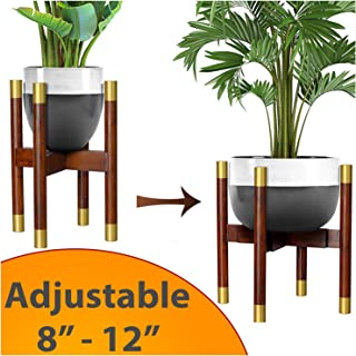 """Mid Century Adjustable Plant Stand – Bamboo Indoor Planter Stand Extendable Size 8"""" to 12"""" – Hand-Made Original Dark Brown and Gold Design - Modern Decor for Home and Office"""
