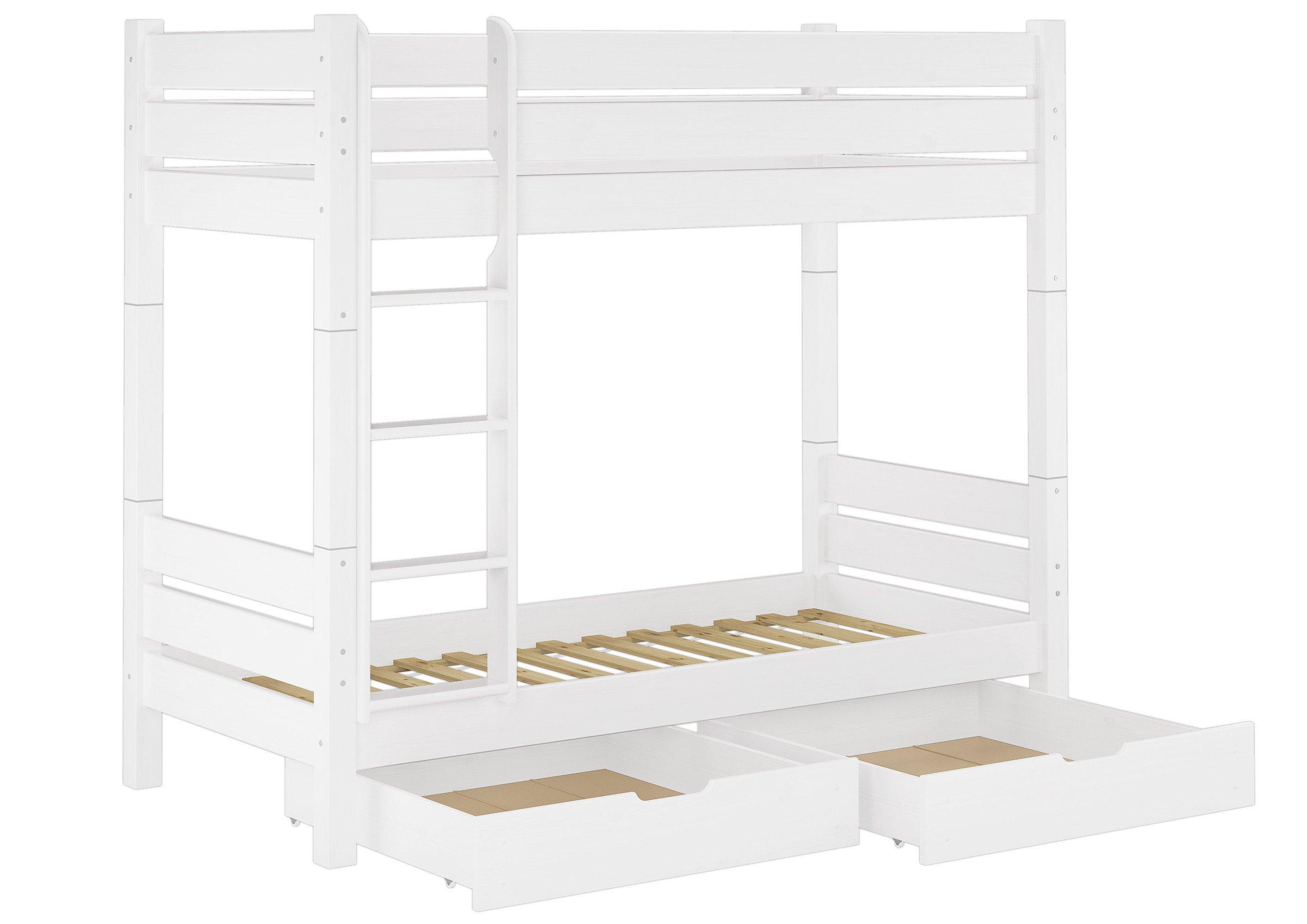 Erst-Holz Litera para Adultos Pino Blanco 100 x 200 Cama Divisible 2 Parrillas Roll cajones 60.16 – 10 W T100 S2: Amazon.es: Hogar