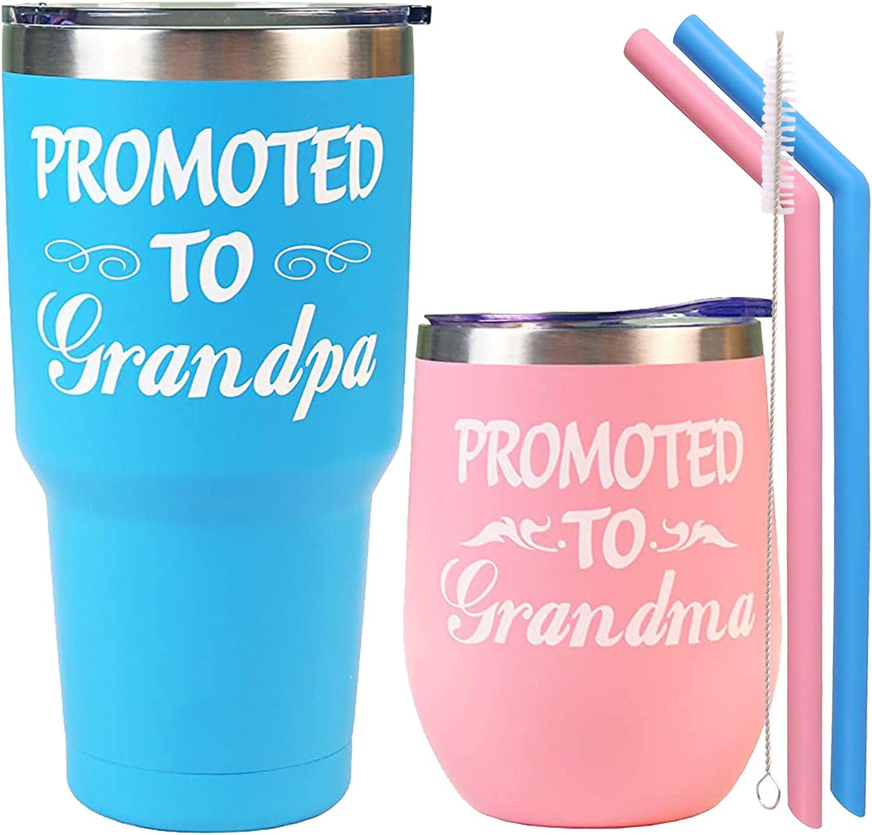 Grandma Grandpa Announcement,Pregnancy Announcement for Grandparents,Grandpa and Grandma Announcement Gifts,Promoted to Grandma Mug,Baby Announcement Grandparent Cups,Promoted to Grandparents