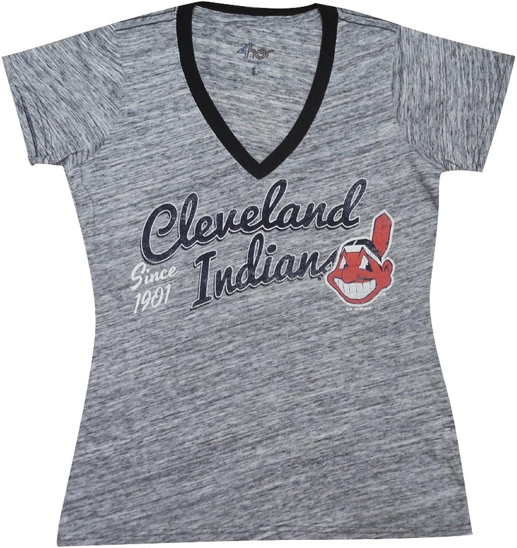 CLE Indians Womens Athletic VNeck TShirt (Vintage Look)