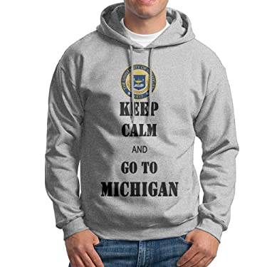 ACFUN Men's Keep Calm And Go To Michigan Hoodie Size XXL Ash