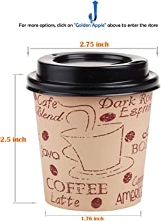 GOLDEN APPLE, 4oz-50sets Disposable Print Paper Coffee Cups & Black Lids