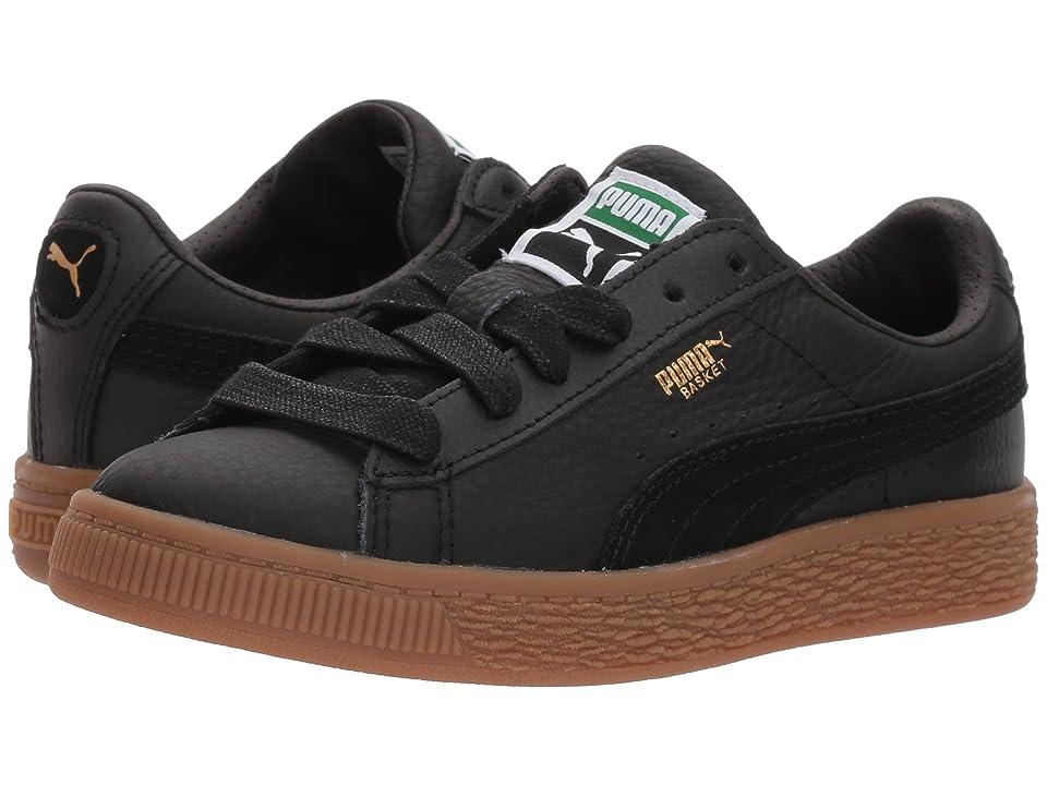 Puma Kids Basket Classic Gum Deluxe (Little Kid) (Puma Black/Puma Black) Kids Shoes
