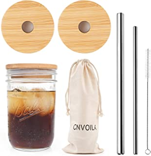 Mason Jar Lids with Straw Set, ECO Reusable Bamboo Wide Mouth Mason Jar Lids with 2 Reusable Stainless Steel Straw