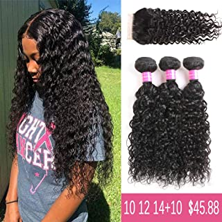 9A Brazilian Virgin water Wave Human Hair 3 Bundles with Lace Closure Free Part 100% Unprocessed Brazilian Water Wave Hair Weave Bundles Natural Color(10 12 14+10)