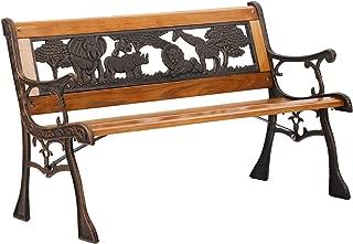 FDW Patio Garden Bench Park Porch Chair Cast Iron Hardwood Furniture Animals