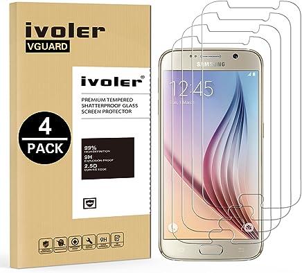 iVoler [4 Unidades] Protector de Pantalla Compatible con Samsung Galaxy S6, Cristal Vidrio Templado Premium [Dureza 9H] [Anti-Arañazos] [Sin Burbujas]