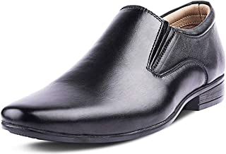 Kanprom Men's Black Genuine Leather Formal Moccasins Slip On Shoes