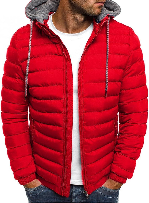 Men's Winter Warm Down Jacket Zipper up Packable Puffer Lightweight Outwear Windproof Coat with Hoodies