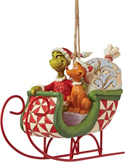Enesco Grinch by Jim Shore Grinch and Max in Sleigh Hanging Ornament