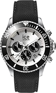 Ice-Watch - Ice Steel Black Silver - Chrono - Montre Noire pour Homme avec Bracelet en Silicone - Chrono - 016302 (Large)