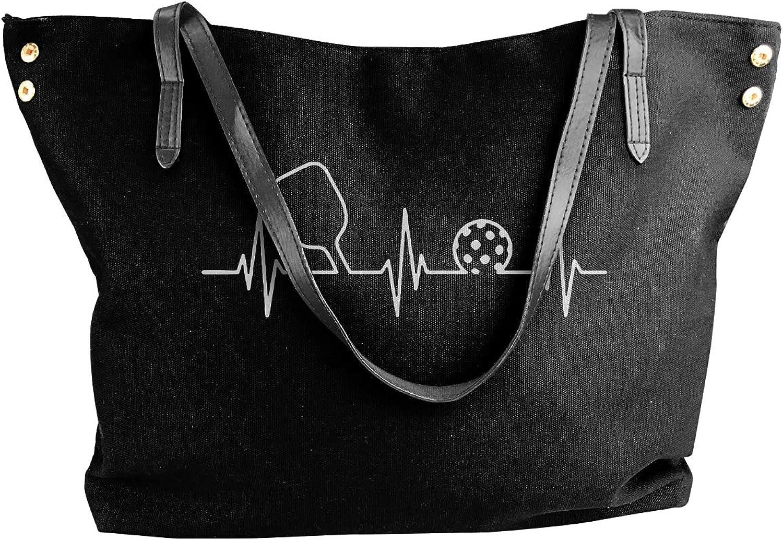 Pickleball Heartbeat Women'S Casual Canvas Handbag For Travel Big Shopping Bag