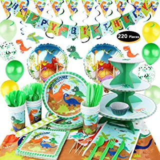 hapycity 220Pieces Dinosaur Birthday Party Supplies Serves 16 for Kids Birthday Theme Party School Party Daily Dinner