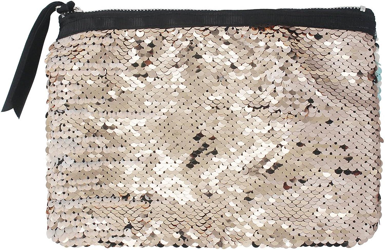 Women Reversible Sequins Mermaid Glitter Handbag Evening Clutch Bag Wallet Purse