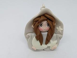 Folletta Gnomo elfo DOLCE NOTTE bianco perla idea regalo Handmade personalizzabile con il nome. SI ILLUMINA AL BUIO. Made ...